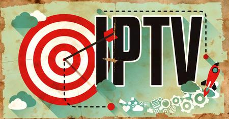 IPTV - Internet Protocol Television - Concept. Poster in Flat Design. Business Concept.
