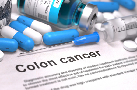 colorectal cancer: Colon Cancer - Printed Diagnosis with Blue Pills, Injections and Syringe. Medical Concept with Selective Focus. Stock Photo