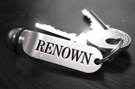 renown: Renown Concept. Keys with Keyring on Black Wooden Table. Closeup View, Selective Focus, 3D Render. Black and White Image.