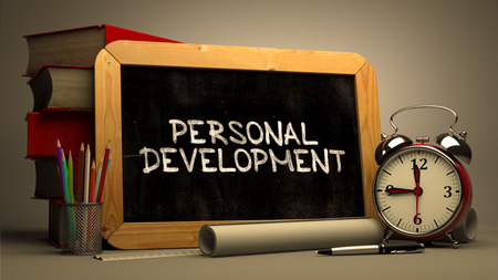 personal development: Hand Drawn Personal Development Concept on Chalkboard. Blurred Background. Toned Image. Stock Photo