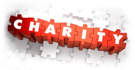 fundraiser: Charity - White Word on Red Puzzles on White Background. 3D Illustration.