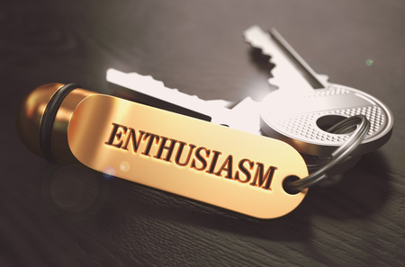 enthusiasm: Enthusiasm Concept. Keys with Golden Keyring on Black Wooden Table. Closeup View, Selective Focus, 3D Render. Toned Image.