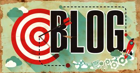 Blog - Grunge Poster in Flat Design. Communication Concept. Stock Photo