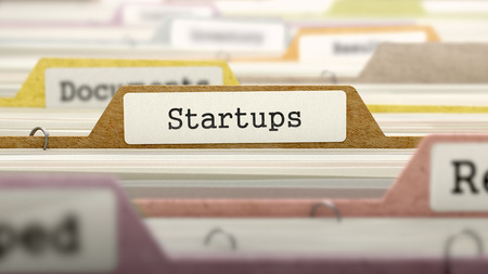 Startups Concept on Folder Register in Multicolor Card Index. Closeup View. Selective Focus. Фото со стока - 47796603