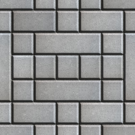 figured: Gray Figured Paving Slabs as Rectangles and Squares. Seamless Tileable Texture. Stock Photo