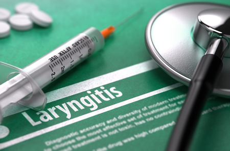 pharyngitis: Laryngitis - Medical Concept with Blurred Text, Stethoscope, Pills and Syringe on Green Background. Selective Focus.