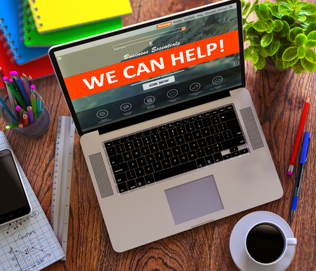 can we help: We Can Help on Laptop Screen. Office Working Concept.