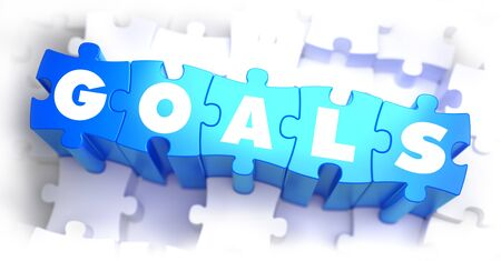 intentions: Goals - White Word on Blue Puzzles on White Background. 3D Illustration.