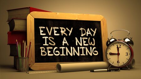 every: Inspirational Quote - Every Day is a New Beginning on Chalkboard. Blurred Background. Toned Image.