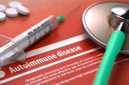 autoimmune: Autoimmune disease - Printed Diagnosis on Orange Background and Medical Composition - Stethoscope, Pills and Syringe. Medical Concept. Blurred Image.