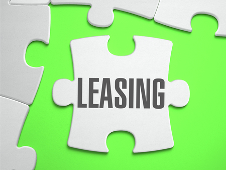 subsequent: Leasing - Jigsaw Puzzle with Missing Pieces. Bright Green Background. Close-up. 3d Illustration.