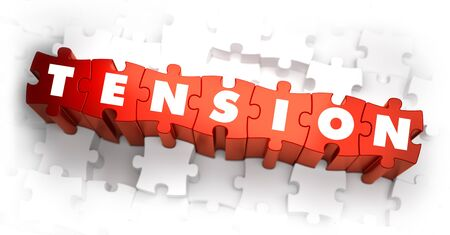 worry tension: Tension - White Word on Red Puzzles on White Background. 3D Illustration. Stock Photo