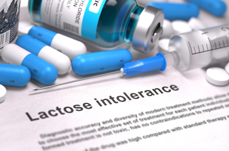 intolerancia: Diagnosis - Lactose Intolerance. Medical Report with Composition of Medicaments - Blue Pills, Injections and Syringe. Blurred Background with Selective Focus.