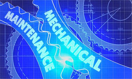 prophylactic: Mechanical Maintenance Concept. Blueprint Background with Gears. Industrial Design. 3d illustration, Lens Flare.
