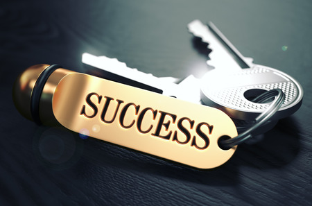 succes: Keys to Succes - Concept on Golden Keychain over Black Wooden Background. Closeup View, Selective Focus, 3D Render. Toned Image. Stock Photo