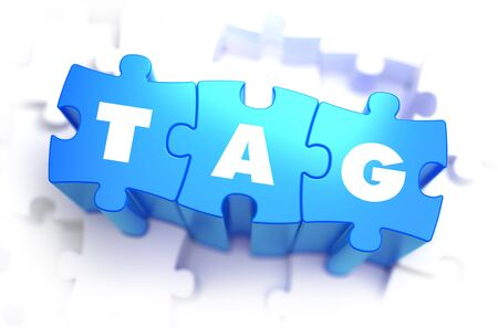 java script: Tag - White Word on Blue Puzzles on White Background. 3D Illustration. Stock Photo