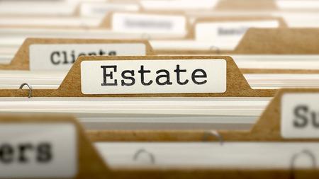 rent index: Estate Concept. Word on Folder Register of Card Index. Selective Focus.