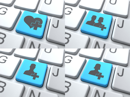 consisting: E-Dating Concept - Blue Button on Keyboard Consisting of Share.