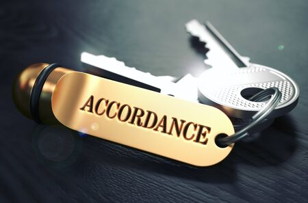 adequacy: Keys with Word Accordance on Golden Label over Black Wooden Background. Closeup View, Selective Focus, 3D Render. Toned Image. Stock Photo