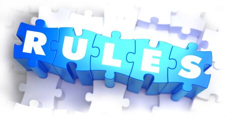 injunction: Rules - White Word on Blue Puzzles on White Background and Selective Focus. 3D Render.