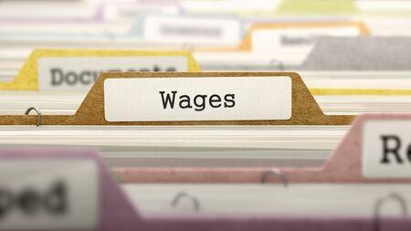 salarios: Concepto salarios. Color carpetas de documentos clasificados para el catálogo. Primer punto de vista. Enfoque selectivo.