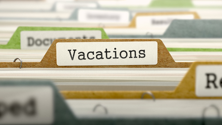 furlough: Vacations on Business Folder in Multicolor Card Index. Closeup View. Blurred Image.