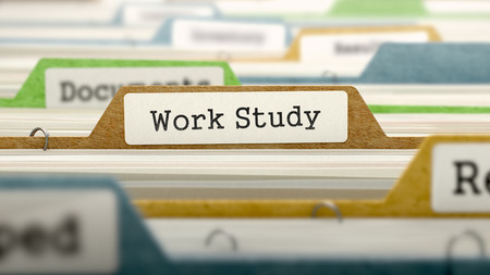 file folder: File Folder Labeled as Work Study in Multicolor Archive. Closeup View. Blurred Image.