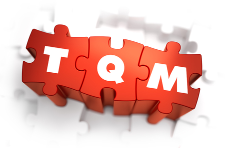 total: TQM - Total Quality Management - White Word on Red Puzzles on White Background. 3D Illustration.