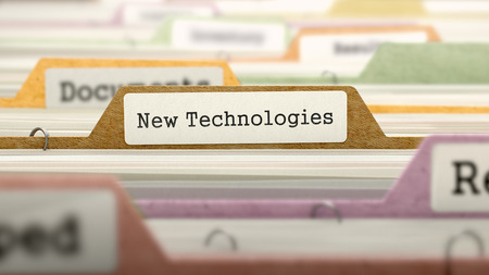 new technologies: New Technologies - Folder Register Name in Directory. Colored, Blurred Image. Closeup View. Stock Photo