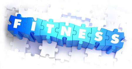 methodology: Fitness - White Word on Blue Puzzles on White Background. 3D Illustration.