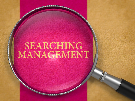 relevance: Searching Management through Lens on Old Paper with Lilac Vertical Line Background.