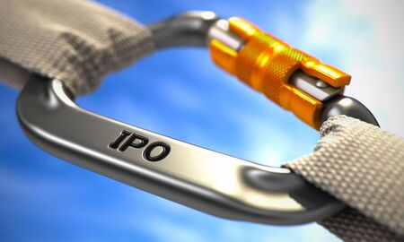 initial public offerings: IPO - Initial Public Offering - on Chrome Carabine with White Ropes. Focus on the Carabine.