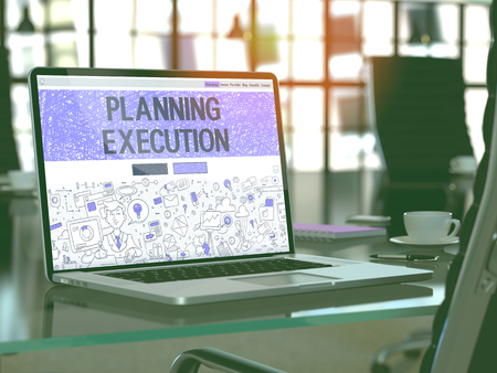execution: Planning Execution Concept Closeup on Landing Page of Laptop Screen in Modern Office Workplace. Toned Image with Selective Focus.