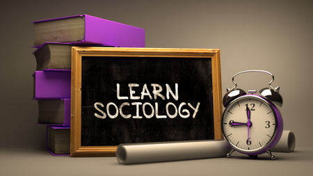 sociology: Hand Drawn Learn Sociology Concept  on Chalkboard. Blurred Background. Toned Image.