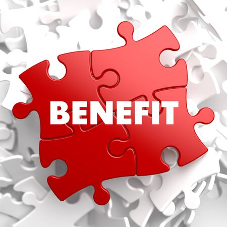 benefit: Benefit on Red Puzzle on White Background.