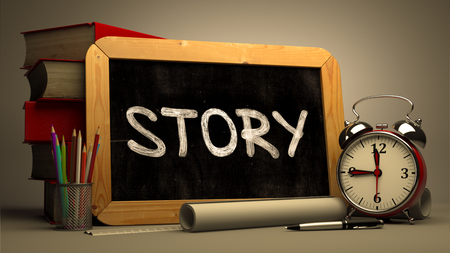 happening: Story Concept Hand Drawn on Chalkboard. Blurred Background. Toned Image. Stock Photo