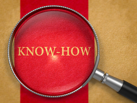 knowhow: Know-How through Loupe on Old Paper with Dark Red Vertical Line Background.