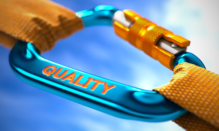 the superiority: Quality on Blue Carabine with a Orange Ropes. Selective Focus. Stock Photo