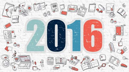 holiday budget: 2016 Concept. Modern Line Style Illustation. Multicolor 2016 Drawn on White Brick Wall. Doodle Icons. Doodle Design Style of  2016  Concept. Stock Photo