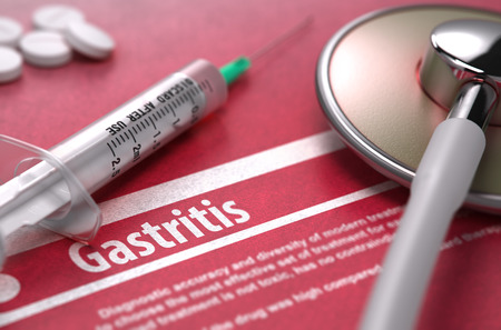 gastritis: Gastritis - Medical Concept on Red Background with Blurred Text and Composition of Pills, Syringe and Stethoscope. Stock Photo