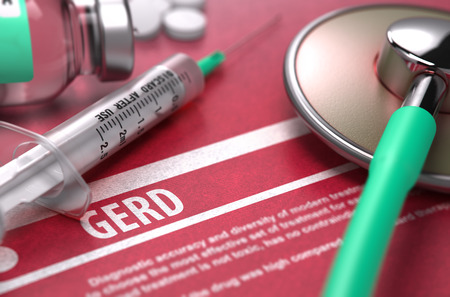 brash: GERD - Printed Diagnosis on Red Background and Medical Composition - Stethoscope, Pills and Syringe. Medical Concept. Blurred Image.