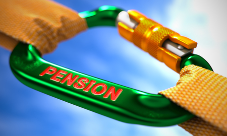 subsidize: Green Carabiner between Orange Ropes on Sky Background, Symbolizing the Pension. Selective Focus.