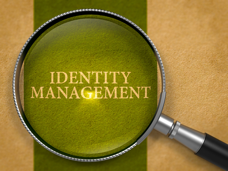 identity management: Identity Management through Lens on Old Paper with Dark Green Vertical Line Background.