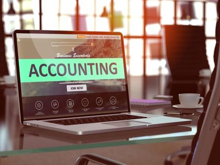 registros contables: Concepto que representa Primer en la pantalla de ordenador port�til en la oficina moderna del lugar de trabajo. Imagen virada con enfoque selectivo. Foto de archivo