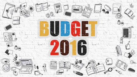 marginal: Budget 2016. Multicolor Inscription on White Brick Wall with Doodle Icons Around. Budget 2016 Concept. Modern Style Illustration with Doodle Design Icons. Budget 2016 on White Brickwall Background.