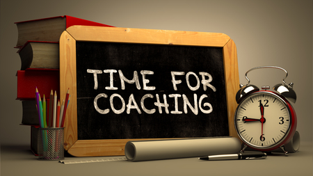 need direction: Hand Drawn Time for Coaching Concept  on Chalkboard. Blurred Background. Toned Image.