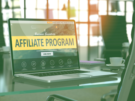 Affiliate Program Concept Closeup on Laptop Screen in Modern Office Workplace. Toned Image with Selective Focus.