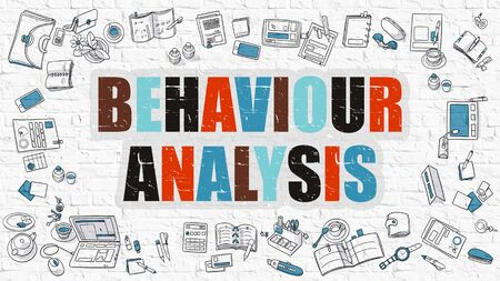behaviour: Behaviour Analysis Concept. Modern Line Style Illustation. Multicolor Behaviour Analysis Drawn on White Brick Wall. Doodle Icons. Doodle Design Style of  Behaviour Analysis  Concept. Stock Photo
