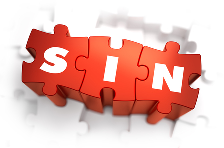 sinful: Sin - Text on Red Puzzles with White Background. 3D Render.
