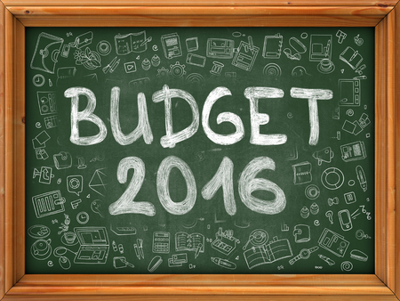 marginal returns: Hand Drawn Budget 2016 on Green Chalkboard. Hand Drawn Doodle Icons Around Chalkboard. Modern Illustration with Line Style. Stock Photo